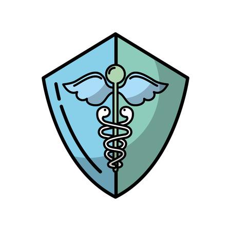 Illustration pour caduceus shield medical healthcare symbol vector illustration - image libre de droit