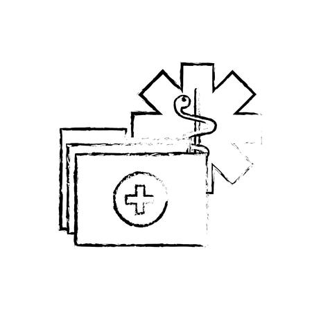 caduceus medical folder report documents vector illustration hand drawing