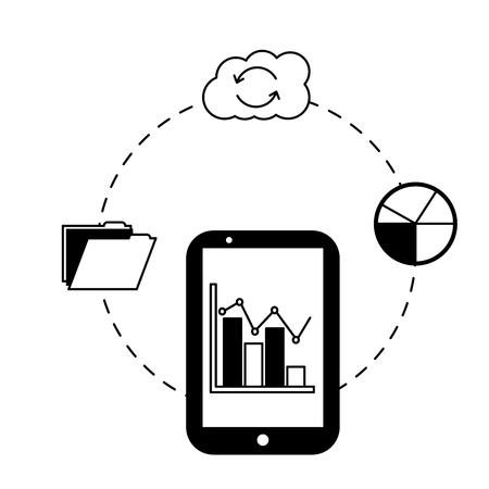 smartphone statistics report cloud storage folder vector illustration