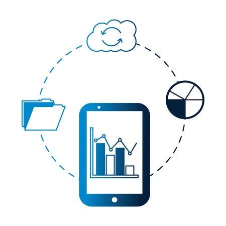 smartphone statistics report cloud storage folder vector illustration neon