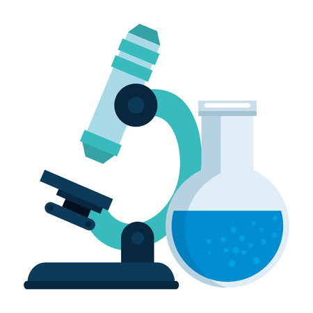 Ilustración de microscope laboratory with tube test vector illustration design - Imagen libre de derechos