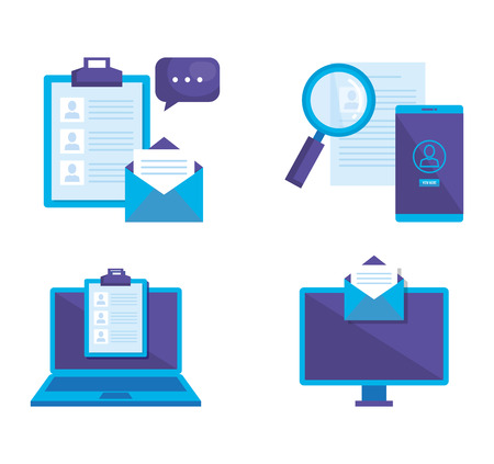 Illustration pour social media marketing set icons vector illustration design - image libre de droit
