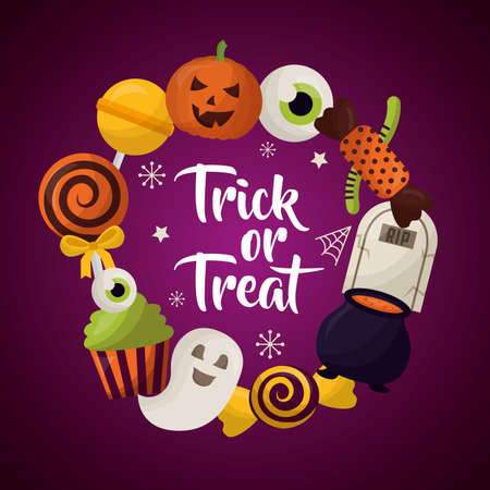 happy halloween celebration day trick or treat ghosts candys lollipops vector illustration