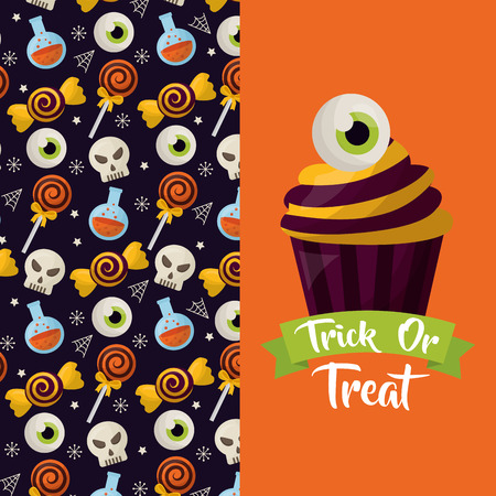 happy halloween celebration day banner cake eye sweet skull candys vector illustration
