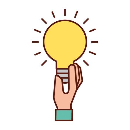 Illustration pour hand holding bulb idea creativity symbol vector illustration - image libre de droit