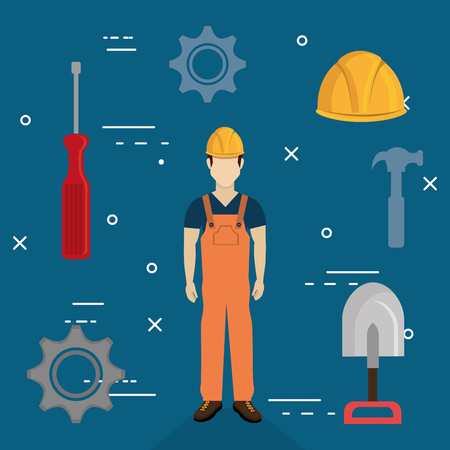 Illustration for builder character with construction equipment vector illustration design - Royalty Free Image