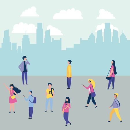 Illustration for outdoor activities city people walking street vector illustration - Royalty Free Image