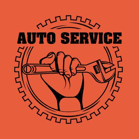 hand holding adjustable wrench tool gear auto service vector illustration