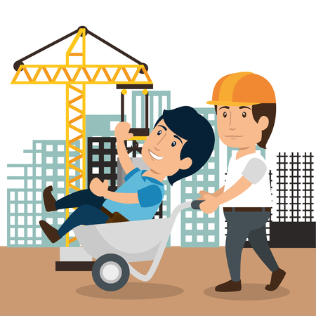Illustration for men builders characters working vector illustration design - Royalty Free Image