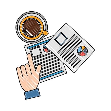 Photo pour hand hiring resume documents coffee cup vector illustration - image libre de droit