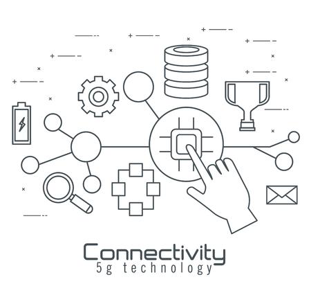 Illustration pour connectivity 5g technology icons vector illustration design - image libre de droit