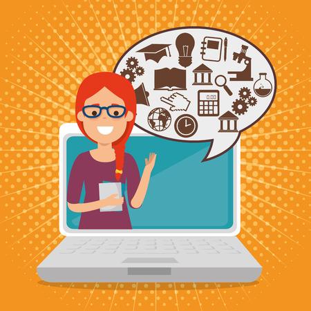 Illustration pour teacher woman with laptop online education vector illustration design - image libre de droit
