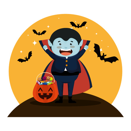 boy dressed up as a halloween dracula with bats flying vector illustration