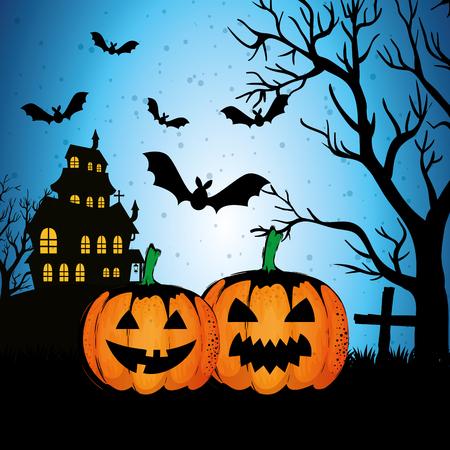 Illustration pour halloween enchanted castle on the night vector illustration design - image libre de droit