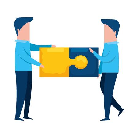 Illustration pour teamworkers with puzzle pieces game vector illustration design - image libre de droit