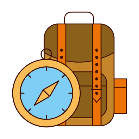 backpack and compass safari equipment supplies vector illustration
