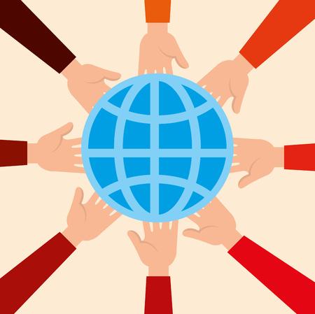 Illustration pour charity donation with sphere planet vector illustration design - image libre de droit