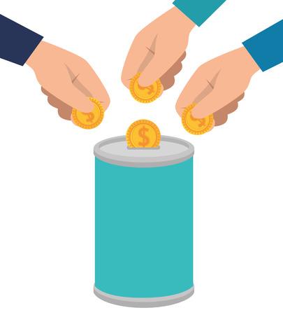 Illustration pour hands donating coins in pot vector illustration design - image libre de droit