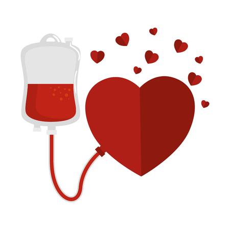 Illustration pour blood donation bag and hearts vector illustration design - image libre de droit