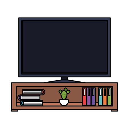 Illustration pour plasma tv in wooden shelf vector illustration design - image libre de droit
