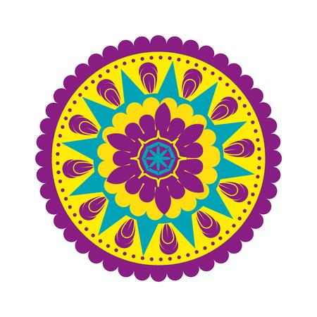 Ilustración de happy diwali card with mandala vector illustration design - Imagen libre de derechos