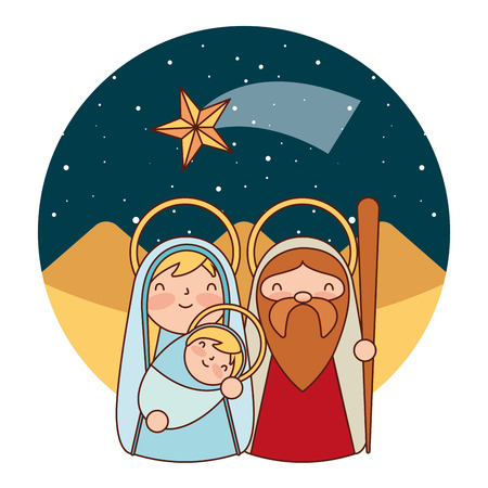 Illustration for cute sacred family in the desert merry christmas vector illustration - Royalty Free Image