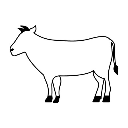 Illustration pour cow cartoon animal wild life vector illustration - image libre de droit