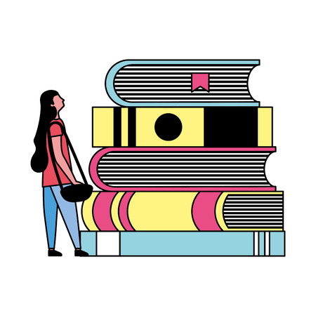 student woman and stack books vector illustration