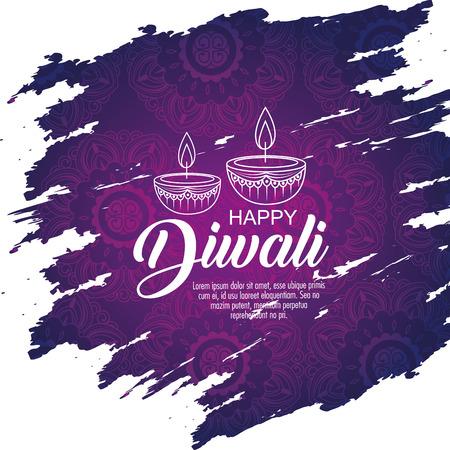 Ilustración de diwali candles decoration to light festival vector illustration - Imagen libre de derechos