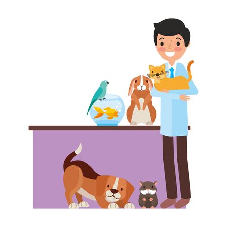 Illustration pour veterinary doctor with aminals clinic petcare vector illustration - image libre de droit