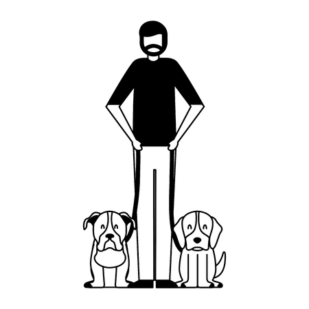 Illustration for beard man holding two pet dogs vector illustration - Royalty Free Image