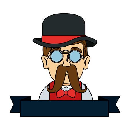 Ilustración de man hipster with mustache and tophat vector illustration design - Imagen libre de derechos
