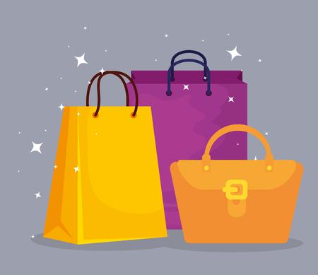 Illustration pour shopping bags and handbag to sale offer vector illustration - image libre de droit