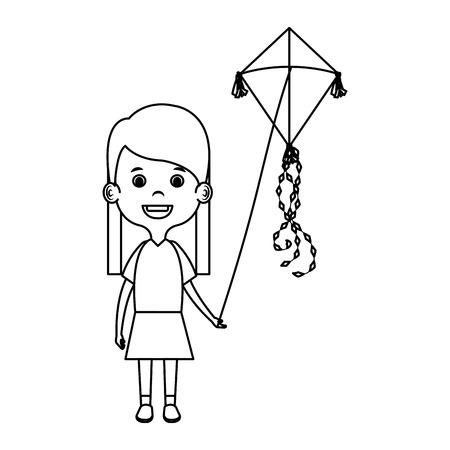 Illustration for little girl flying kite vector illustration design - Royalty Free Image