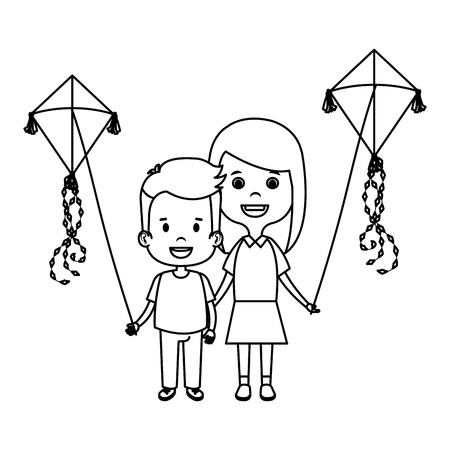 Illustration for kids couple with kite flying vector illustration design - Royalty Free Image