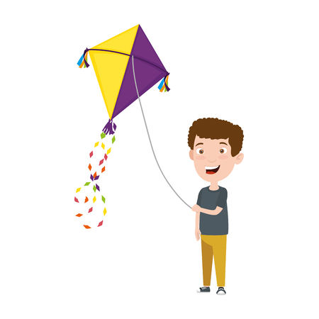 Illustration for little boy flying kite vector illustration design - Royalty Free Image