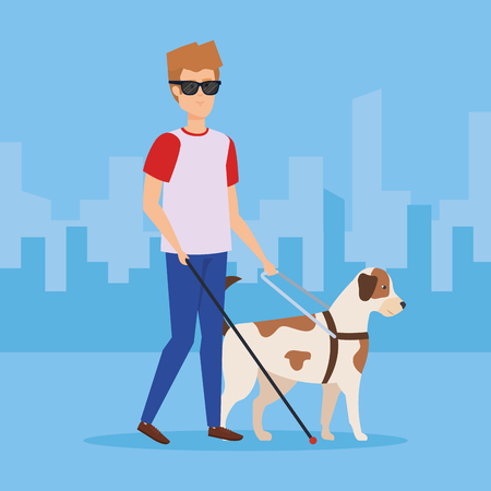 Blind man with dog, Disability health care assistance and accessibility theme Colorful design Vector illustration