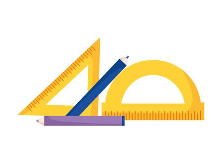 Illustration pour geometric rulers and pencils education supplies school vector illustration - image libre de droit