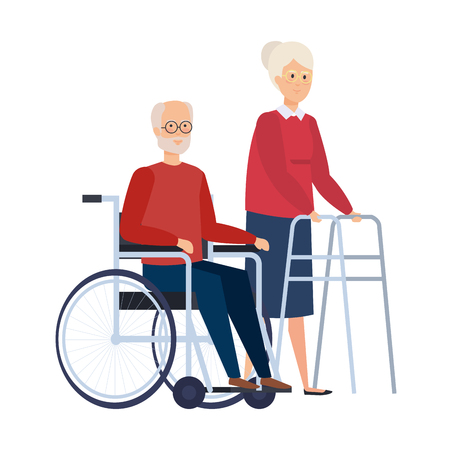 Illustration for old woman with walker and old man in wheelchair vector illustration - Royalty Free Image