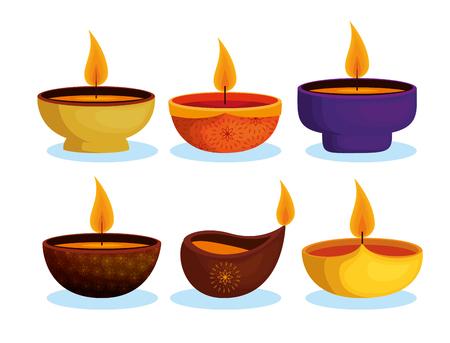 Illustration pour happy diwali festival of lights with candles vector illustration design - image libre de droit