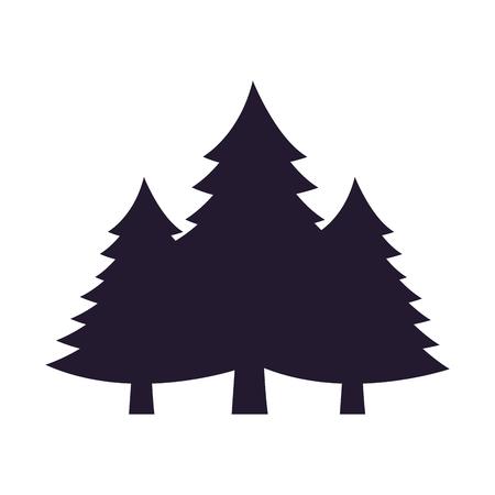 Illustration pour silhouette pine trees on white background vector illustration - image libre de droit