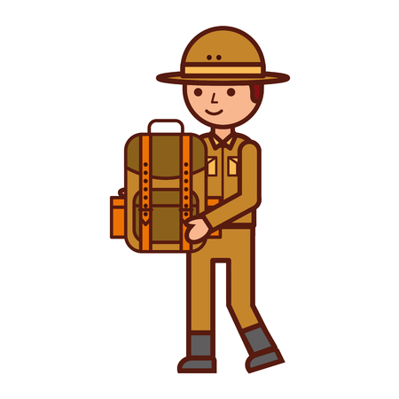 boy character safari with backpack vector illustration