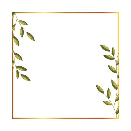 Illustration pour floral label flowers leaves decoration vector illustration - image libre de droit