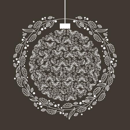 Illustration pour wreath ball merry christmas decoration vector illustration - image libre de droit