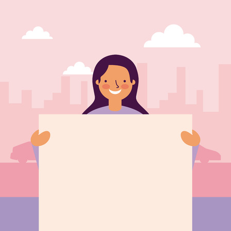 Ilustración de cute girl smiling holding banner city outdoor street vector illustration - Imagen libre de derechos
