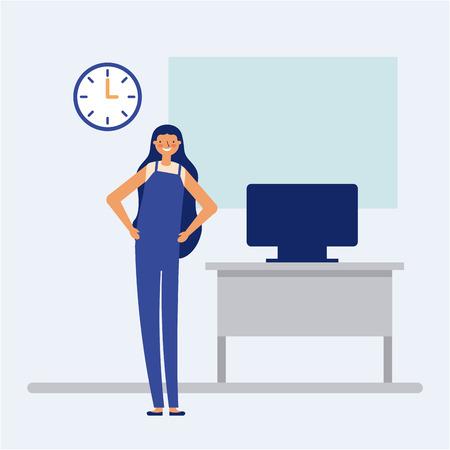 Illustration pour active breaks smiling woman in the office vector illustration - image libre de droit