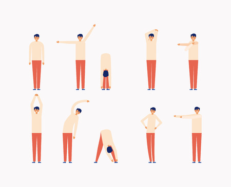 Illustration pour active breaks man touching the tip of her feet stretching the body vector illustration - image libre de droit