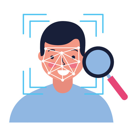 man face scan biometric analysis vector illustration