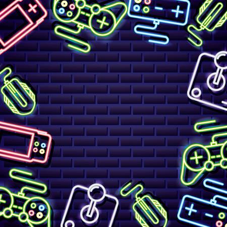 Illustration pour video games controls neon background vector illustration - image libre de droit