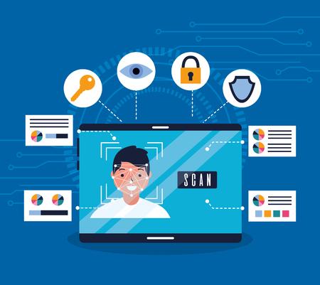 Illustration pour smartphone man face scan recognition biometric vector illustration - image libre de droit